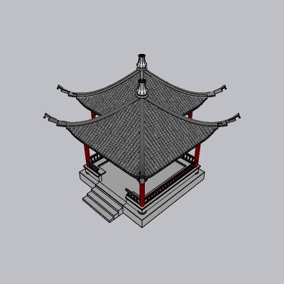 中式廊亭 双亭(30)