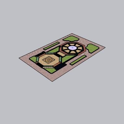 规则式喷泉绿地2