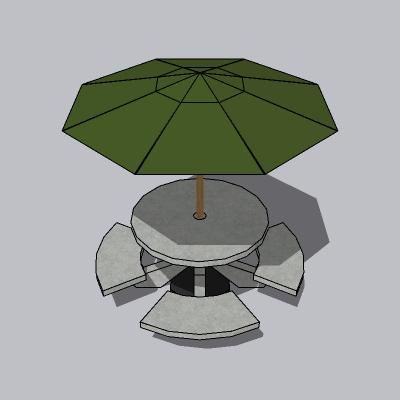 阳伞和石凳