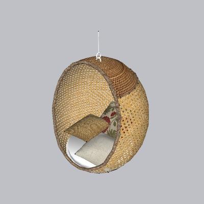 室内椭圆形竹藤吊椅的SU模型