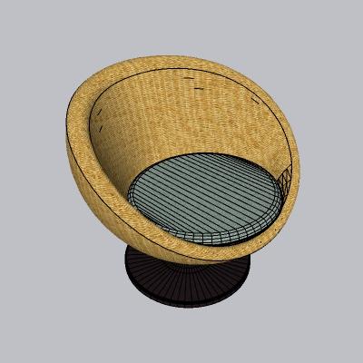 纤维天然矮凳子的SU模型