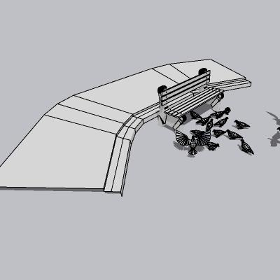 鸽子和园林椅