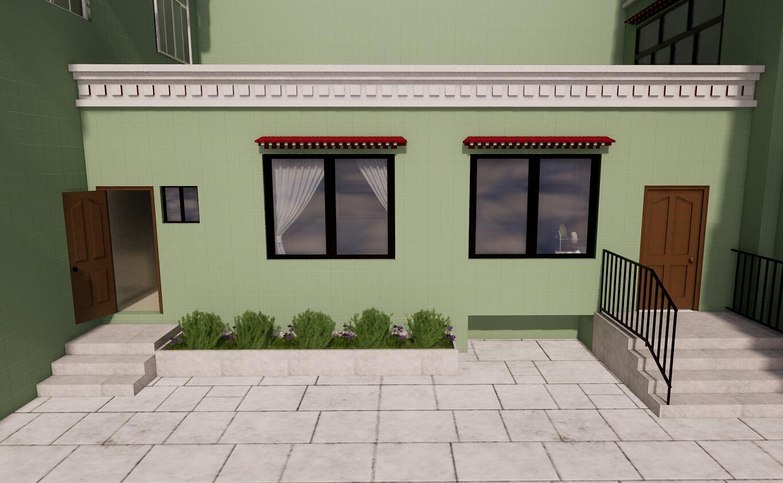 仙足岛 小卫生间和室外