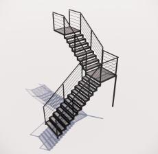 多跑式楼梯_001_景观设计模型