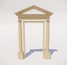 罗马柱_001_景观设计模型