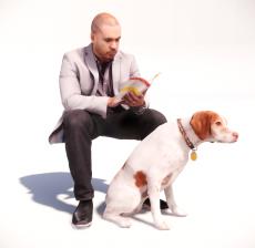 牵着狗看书的男人_147_其他设计模型