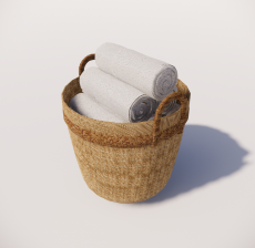 Cesto_com_toalhas_Sketchup模型
