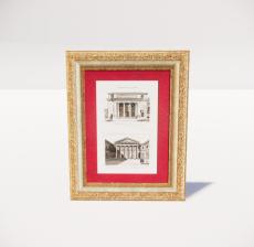 复古装饰画框35_Sketchup模型