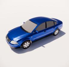 蓝色家轿车_Sketchup模型