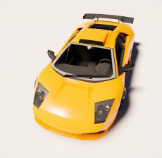 黄色兰博基尼跑车1_Sketchup模型