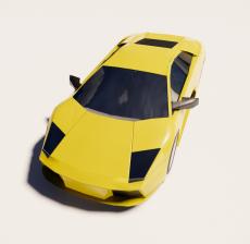 黄色兰博基尼跑车2_Sketchup模型