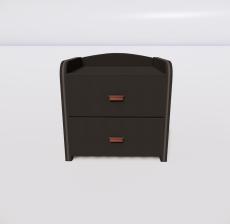黑色皮质床头柜_Sketchup模型