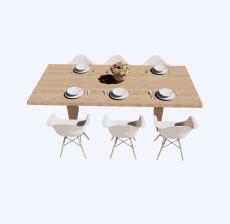 北欧风格餐桌餐椅_Sketchup模型