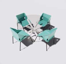 圆餐桌餐椅组合9_Sketchup模型