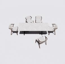 大理石餐桌餐椅组合2_Sketchup模型