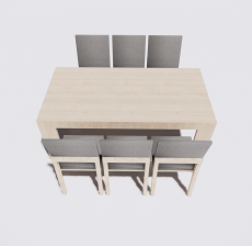 餐桌餐椅组合13_Sketchup模型