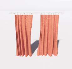 红色窗帘2_Sketchup模型