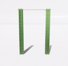 绿色窗帘_Sketchup模型
