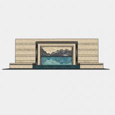 墙体_073中式景墙_Sketchup模型