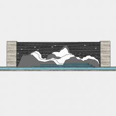 墙体_078中式景墙_Sketchup模型