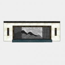 墙体_079中式景墙_Sketchup模型