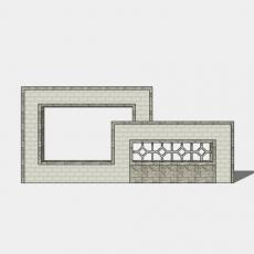 墙体_097中式景墙_Sketchup模型
