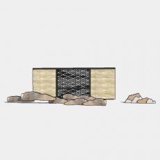 墙体_203中式景墙_Sketchup模型