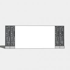 墙体_205中式景墙_Sketchup模型