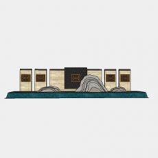 墙体_209中式景墙_Sketchup模型