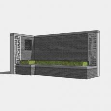 背景墙_128中式景墙_Sketchup模型