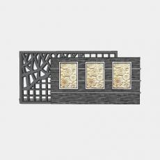 背景墙_143中式景墙_Sketchup模型