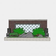 背景墙_153中式景墙_Sketchup模型