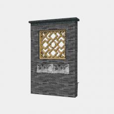背景墙_155中式景墙_Sketchup模型