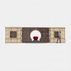 背景墙_160中式景墙_Sketchup模型