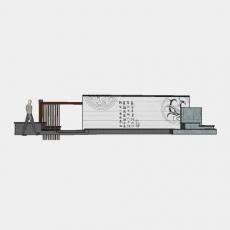 背景墙_170中式景墙_Sketchup模型