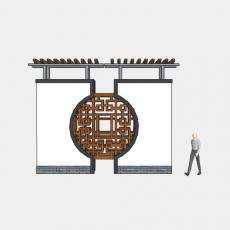 背景墙_175中式景墙_Sketchup模型