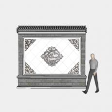 背景墙_186中式景墙_Sketchup模型